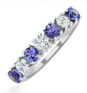Tanzanite 0.70CTCT and Diamond Ring 0.50CT 18K White Gold FT32