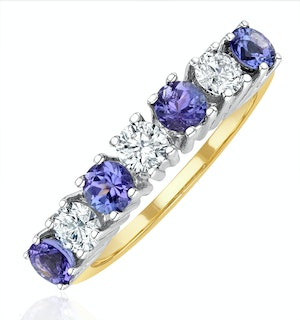 Tanzanite 0.70CT and Diamond Ring 0.50CT 18K Gold FT32