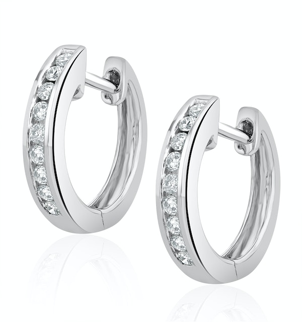 Diamond Hoop Earrings 0.20ct 9K White Gold - image 1