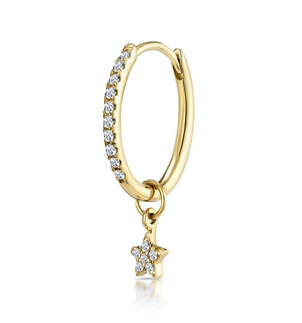 SINGLE Stellato Diamond Hoop Star Charm Earring 0.12ct in 9K Gold - image 1