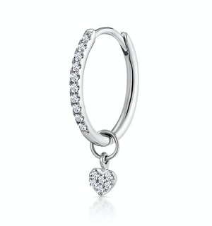 SINGLE Stellato Diamond Hoop Heart Earring 0.11ct in 9K White Gold