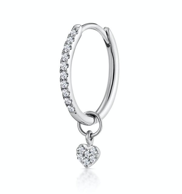 SINGLE Stellato Diamond Hoop Heart Earring 0.11ct in 9K White Gold - image 1