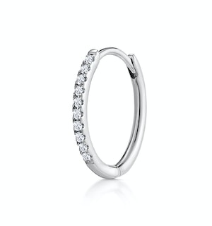 SINGLE Stellato Diamond Hoop Earring 0.09ct in 9K White Gold