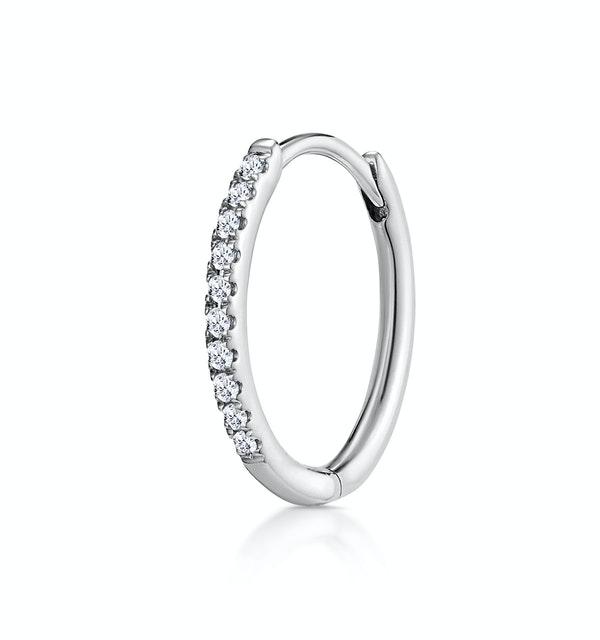 SINGLE Stellato Diamond Hoop Earring 0.09ct in 9K White Gold - image 1