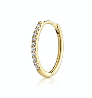 Single Stellato Diamond Encrusted Hoop Earring 0.09ct in 9K Gold