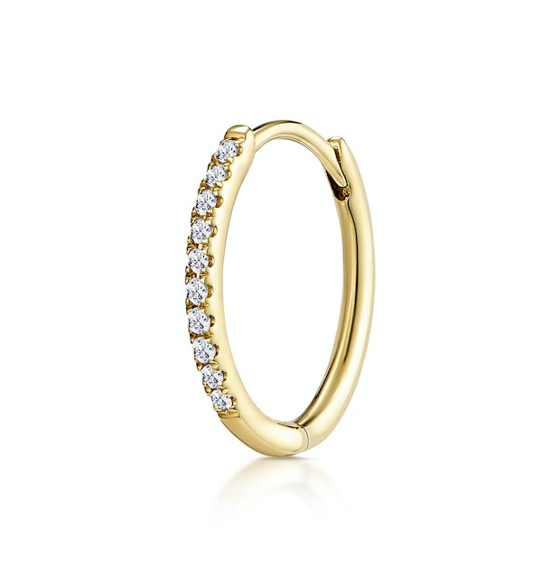 SINGLE Stellato Diamond Encrusted Hoop Earring 0.09ct in 9K Gold - image 1