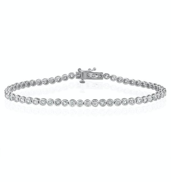 Diamond Tennis Bracelet Rubover Style 2.00ct 9K White Gold - image 1