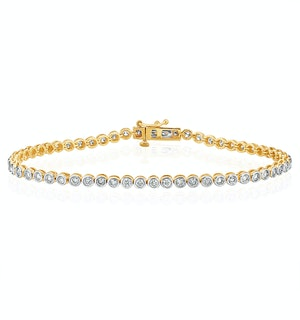 Diamond Tennis Bracelet Rubover Style 2.00ct 9K Gold