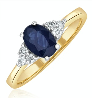 Sapphire 7 x 5mm And Diamond 18K Gold Ring