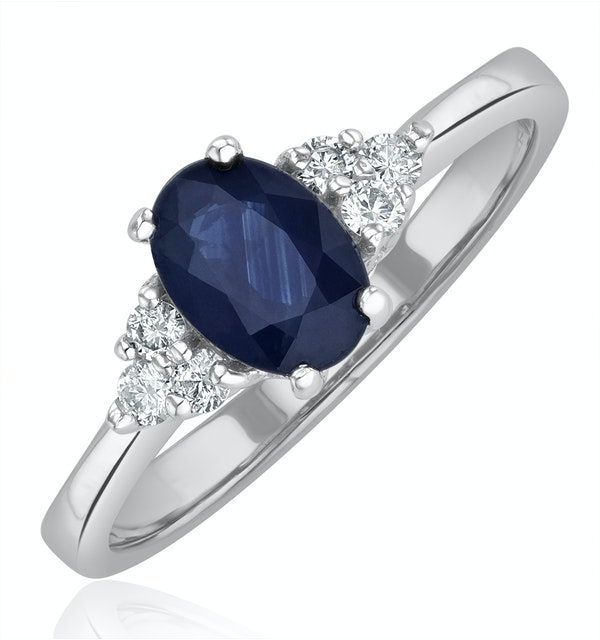 Sapphire 1.00ct And Diamond 18K White Gold Ring - image 1
