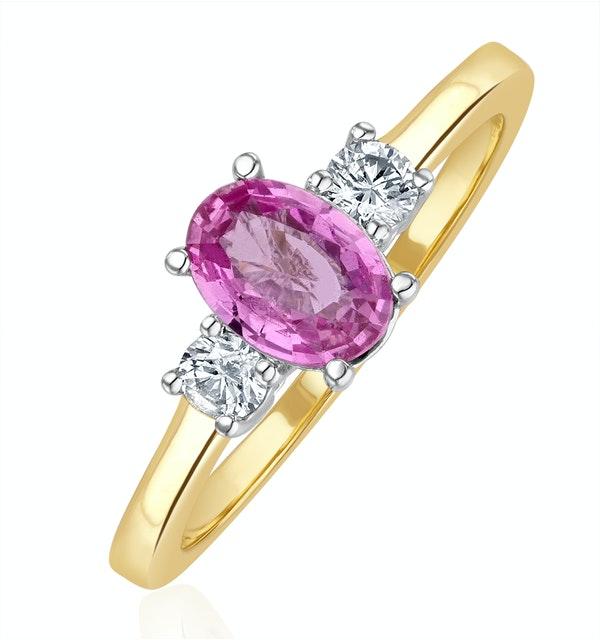 18K Gold Diamond Pink Sapphire Ring 0.20ct - image 1