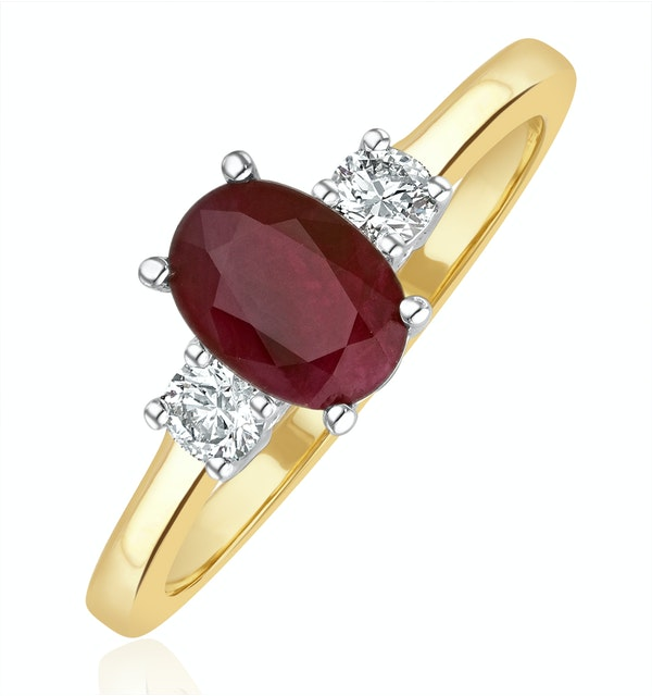 Ruby 7 x 5mm And Diamond 18K Gold Ring - image 1