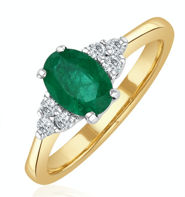 Emerald 0.75ct And Diamond 18K Gold Ring  N4300 - image 1