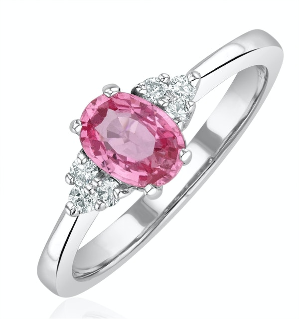 18K White Gold 0.85ct Pink Sapphire and 0.12ct Diamond Ring - image 1