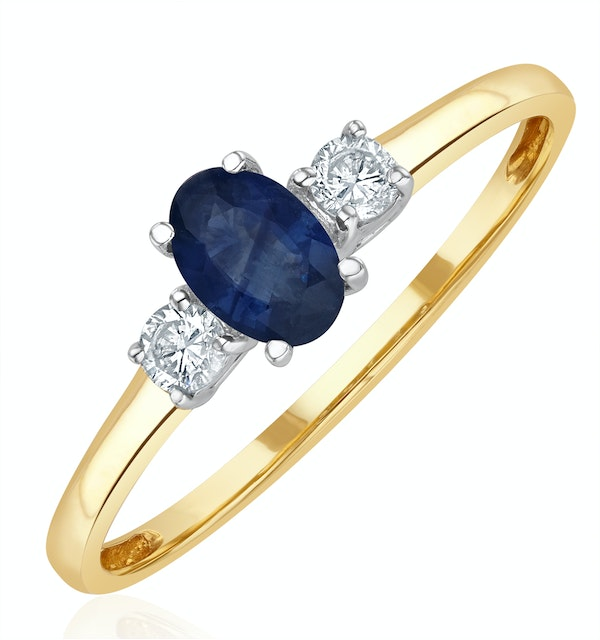 Sapphire 6 x 4mm And Diamond 18K Gold Ring  N4312 - image 1
