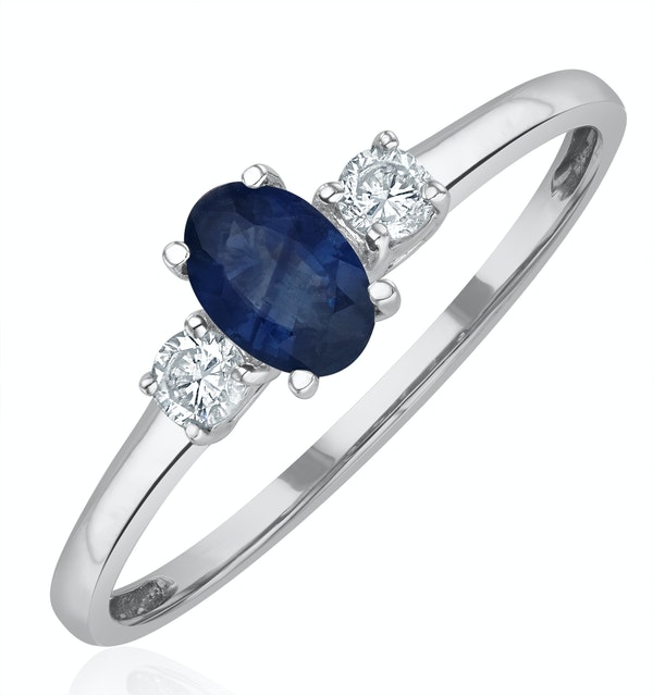 Sapphire 6 x 4mm And Diamond 18K White Gold Ring - image 1