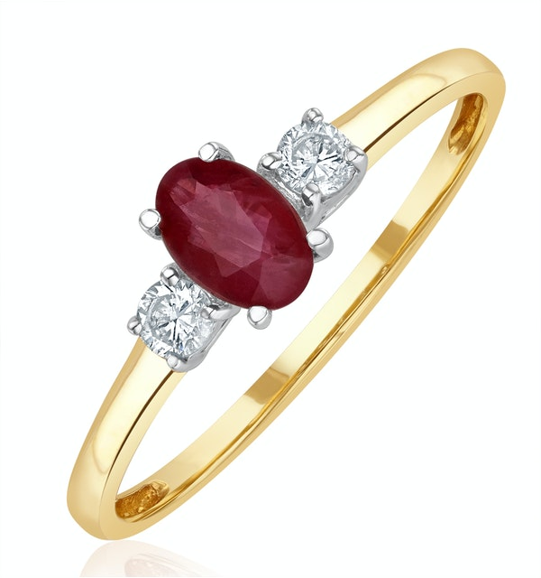 Ruby 6 x 4mm And Diamond 18K Gold Ring  N4313 - image 1