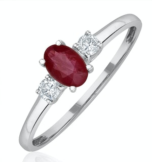 Ruby 6 x 4mm And Diamond 18K White Gold Ring  N4313Y