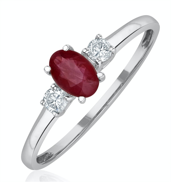 Ruby 6 x 4mm And Diamond 18K White Gold Ring  N4313Y - image 1