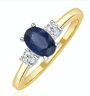 Sapphire 1.00ct And Diamond 18K Gold Ring