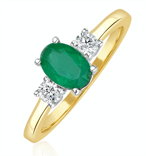 Emerald 0.75ct And Diamond 18K Gold Ring - image 1