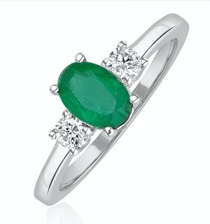Emerald 0.75ct And Diamond 18K White Gold Ring  N4316Y