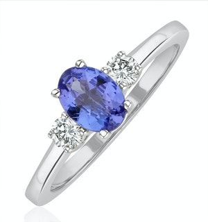 Tanzanite 7 x 5mm And Diamond 18K White Gold Ring  N4317Y