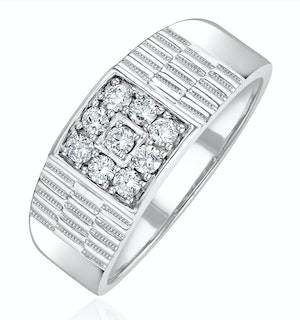 Mens Lab Diamond Signet Ring 0.25ct H/Si in 925 Silver