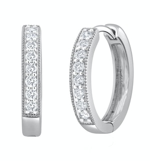 Lab Diamond Hoop Earrings 0.25ct H/Si Pave Set in 9K White Gold