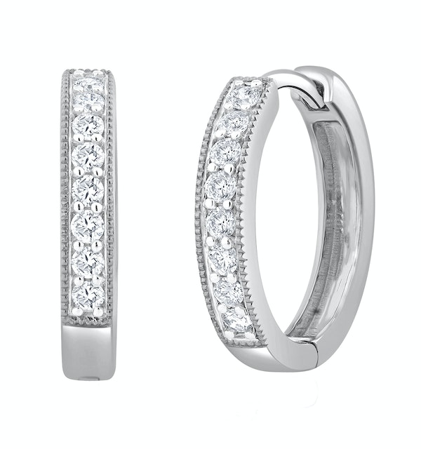 Lab Diamond Hoop Earrings 0.25ct H/Si Pave Set in 9K White Gold - image 1