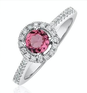 Pink Tourmaline 0.50CT and Diamond Halo 18K Gold Ring UT39