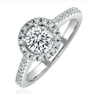 Ella Halo Diamond Engagement Ring 0.86ct G/VS2 Quality 18K White Gold
