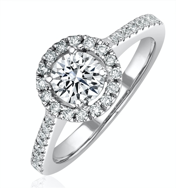 Ella Halo Diamond Engagement Ring 0.86ct G/VS1 Quality 18K White Gold - image 1