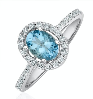 Aquamarine 0.70CT And Diamond 18K White Gold Ring