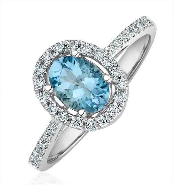 Aquamarine 0.70CT And Diamond 18K White Gold Ring - image 1