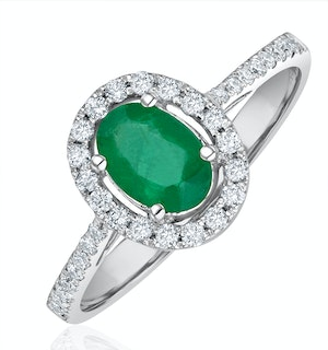 Emerald 0.70ct And Diamond 18K White Gold Ring