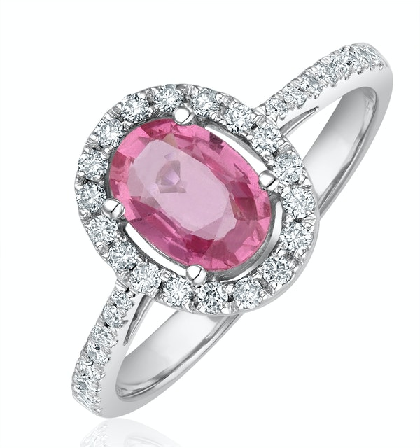 18K White Gold Diamond and Pink Sapphire Oval Ring 0.30ct - image 1