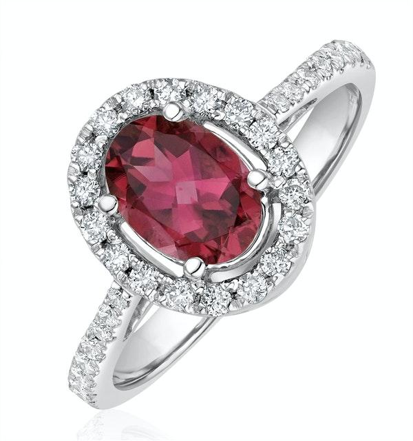 Pink Tourmaline 0.50CT and Diamond Halo 18K White Gold Ring UT42 - image 1