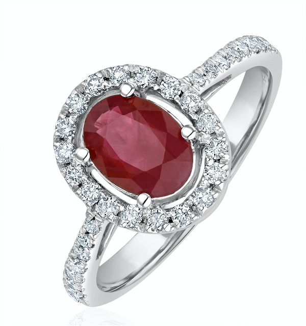 Ruby and Diamond Halo Ring Set in 18K White Gold - image 1