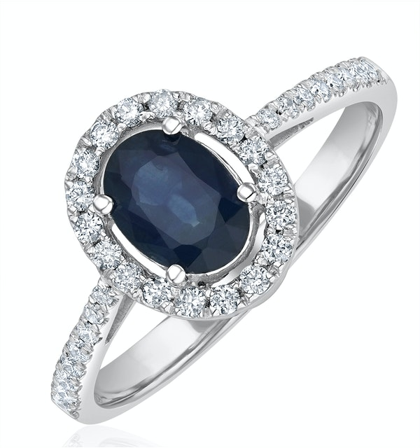 Blue Sapphire and Diamond Halo Ring Set in 18K White Gold - image 1