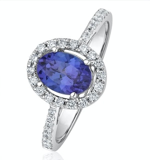 Tanzanite 7 x 5mm And 0.30ct Diamond 18K White Gold Ring