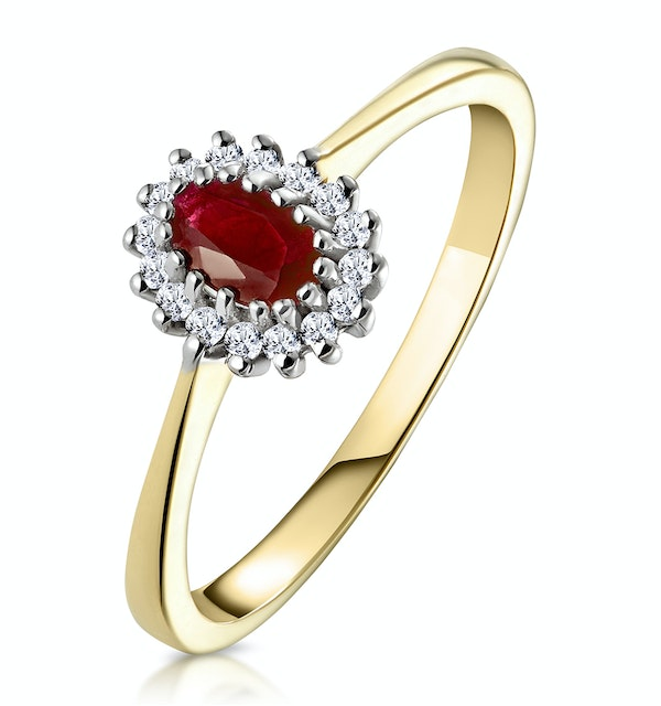 Ruby 5 x 3mm And Diamond 9K Gold Ring - image 1