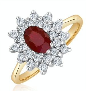 Ruby 6 x 4mm And Diamond 9K Gold Ring  A3372