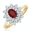 Ruby 6 x 4mm And Diamond 9K Gold Ring  A3372 - image 1