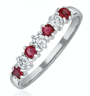 Ruby 0.30ct And Diamond 9K White Gold Ring