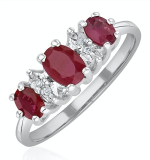 Ruby 0.85ct And Diamond 9K White Gold Ring