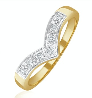 Diamond 0.11ct 9K Yellow Gold Wishbone Ring