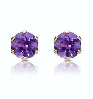 Amethyst 4mm 9K Yellow Gold Stud Earrings