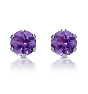 Amethyst 4mm 9K White Gold Stud Earrings