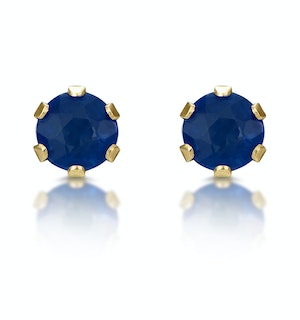 Sapphire 3mm 9K Yellow Gold Stud Earrings